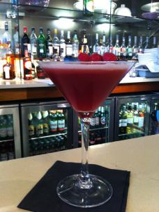 Raspberry Martini at the Collage Bar in the Radisson Blu Hotel Glasgow